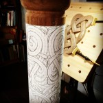 Stave Church inspired acanthus pattern attached to the turned walnuthellip