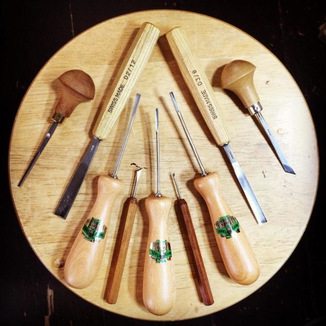 An assortment of carving tools that are getting regular usehellip