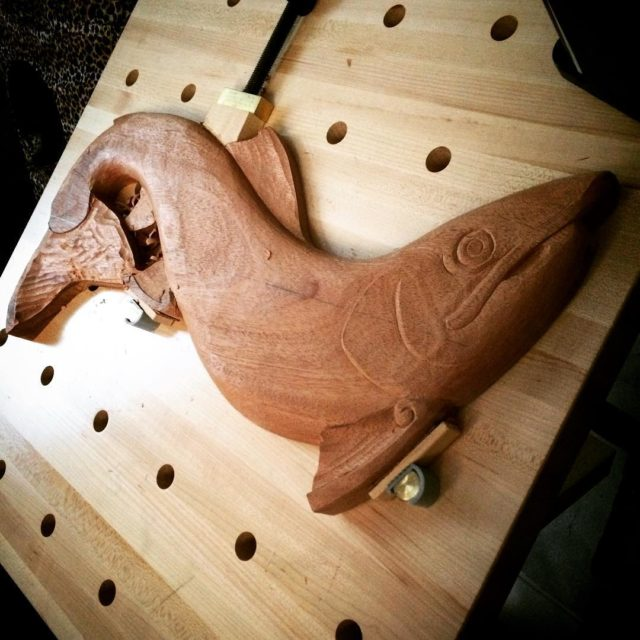 The Atlantic Salmon carving on the bench  roughing outhellip