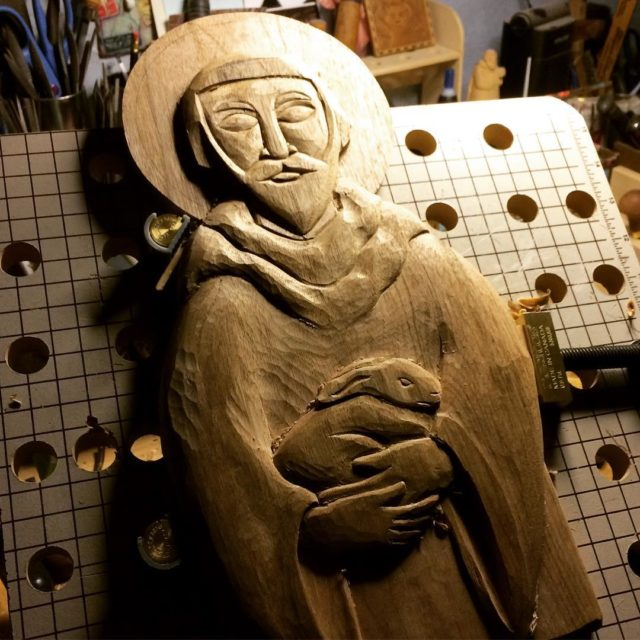 Roughing out the St Francis icon this evening This ishellip